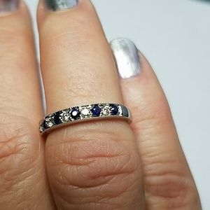 Jewelry - Diamond & Sapphire Sterling Silver Band